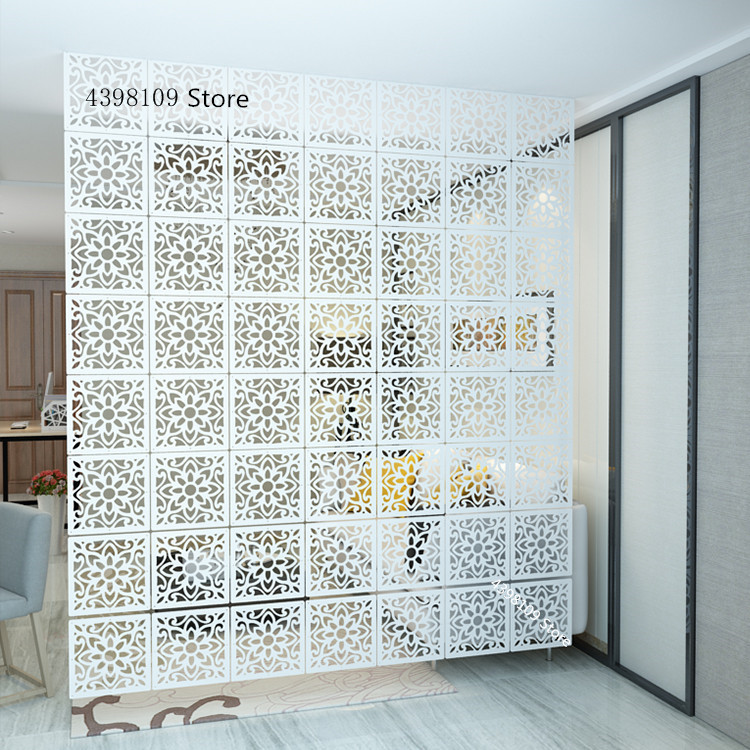 Room Partition Screen White Pvc Hanging Screen Multi Function Living Room Porch Folding Hollow Partition Curtain Home Decoration Leather Bag