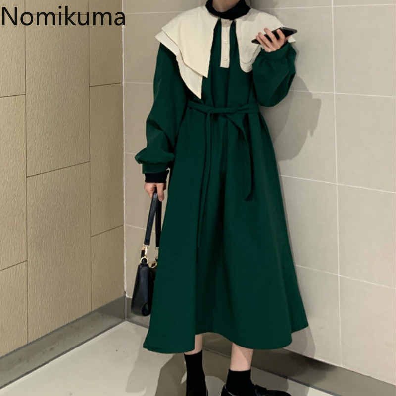 Nomikuma Vintage Fashion Slim Waist Lace Up Dress Women Long Sleeve Asymmetry Collar Retro Dresses Female Vestidos Mujer 3a618