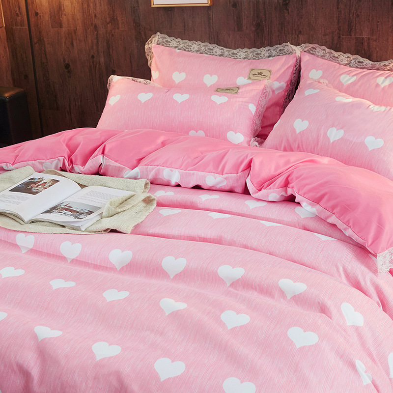 Lace Edge Quilt Cover Sheet Spring And Summer Korean-style Simple Hipster Plaid 4-piece Bedding Set