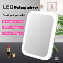 LED makeup mirror with light fill light dormitory desktop desktop dressing mirror folding single-sided portable small mirror usb folding makeup mirror with led light 5 times magnifying cosmetic mirror beauty ring light mirror photo fill light small mirrors