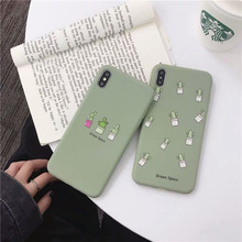 VZD  Phone Case For iPhone 6 6s 7 8 Plus X XR XS Max Cute Green Cactus Potted Plant Face Soft TPU For iPhone 5 5S SE Cover цена и фото