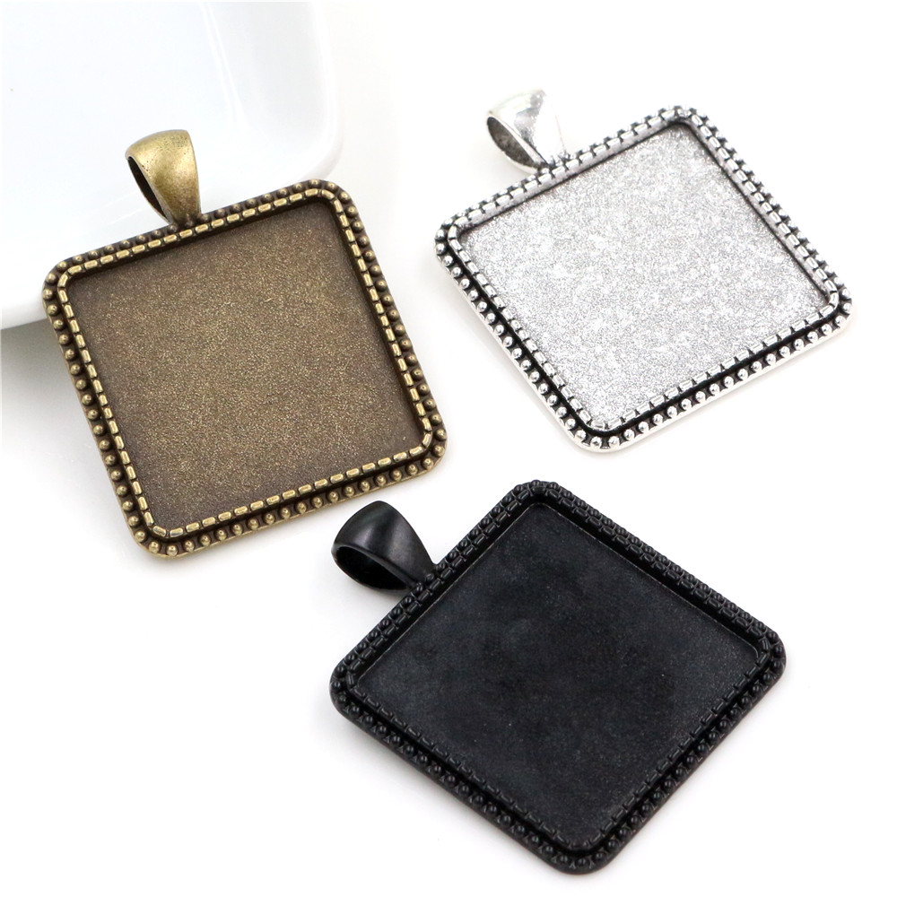 New Fashion 3pcs 25mm  Inner Size Antique Silver Plated And Bronze And Black Square Cabochon Base Setting Charms Pendant