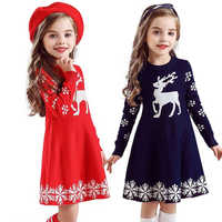 Las chicas nuevas de Navidad jersey de princesa de invierno vestidos de fiesta niños elegante niño ropa de los niños del bebé
