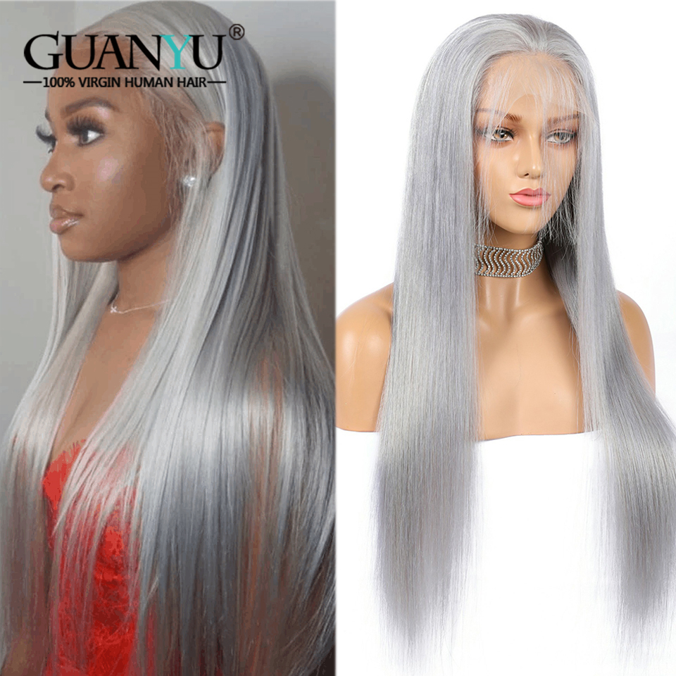 Grey Lace Front Human Hair Wig 13X4 Ombre Brazilian Remy Straight Colored Sliver Gray Bob Lace Wigs For Women Pre Plucked