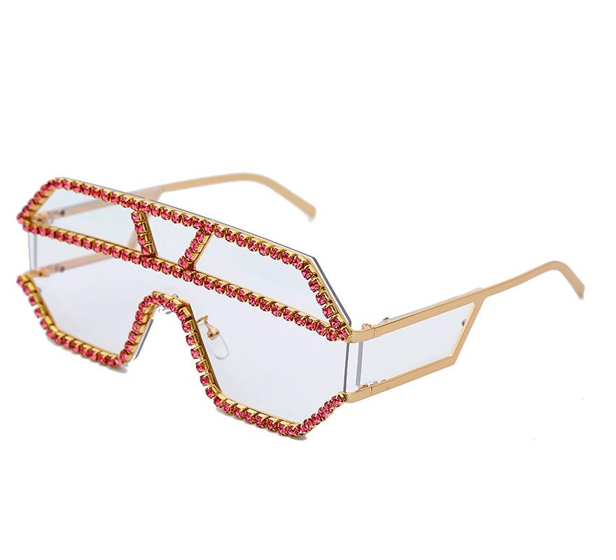 Luxury 10 Color One Piece Lens Rhinestone Sunglasses Women Oversized Square Sun Glasses Brand Designer Men Sun Glasses UV400