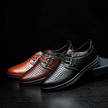 new fashion men genuine pu leather shoes lace up anti slip heels casual footwear for male size 39-44 oxfords