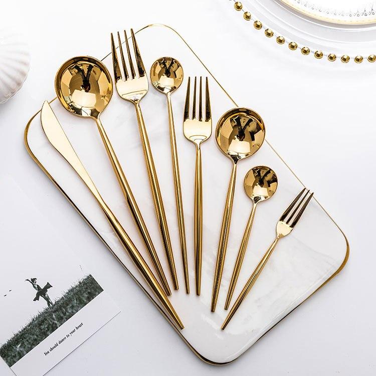 Зеркальные золотые вилки, ложки, ножи, столовые приборы, набор столовых приборов из нержавеющей стали, стальной набор серебряных изделий, Золотая палочка для еды, ложка, нож, набор вилок Столовые сервизы      АлиЭкспресс