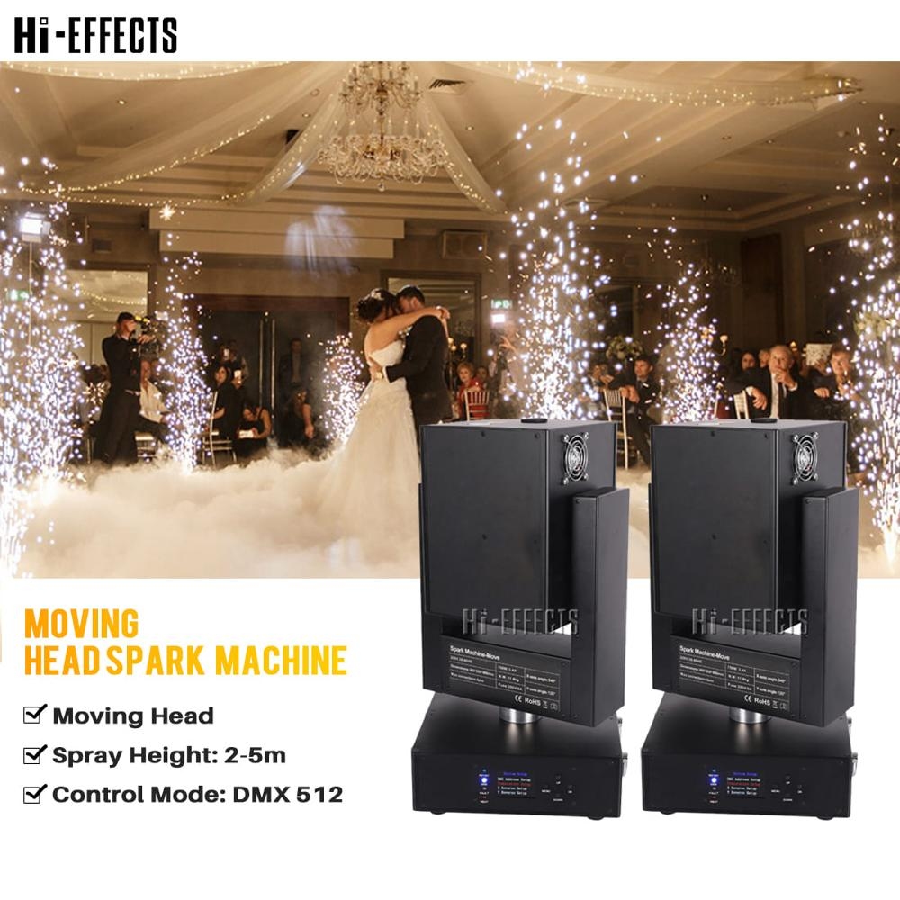 2pcs/lot Latest Moving Head Cold Spark Machine Spray 5 Meters DMX Spark Stage Effect For Wedding Party Decoration
