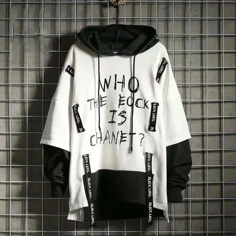 Men/'s Hoodies Fashion White Black Sweatshirt Male Hip Hop Japanese Streetwear