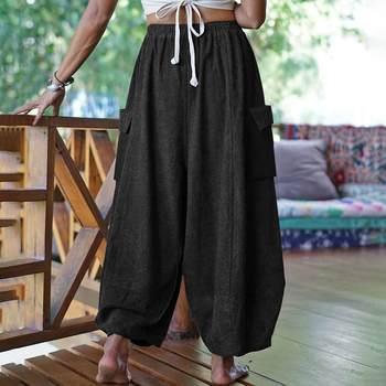 Fashion Women Solid Wide Leg Pants VONDA Vintage Casual Loose Long Trousers Autumn Elastic Waist Pantalon Cotton Palazzo S-5XL