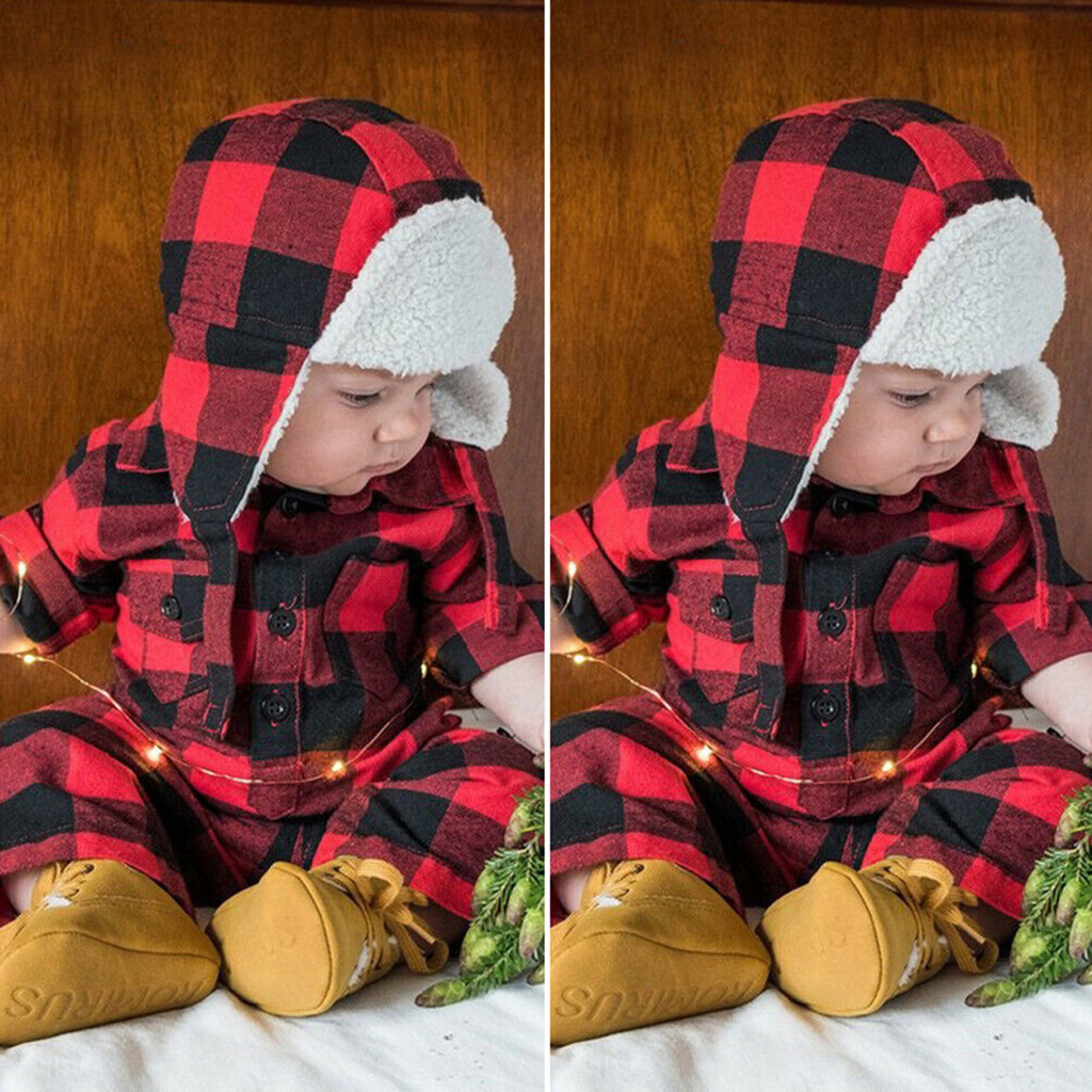 Infant Baby Romper Kids Girls Winter Christmas Clothes Boy Girl Plaid Print Romper Jumpsuit Thick Hats 2Pcs Baby Outfits 3M-3Y