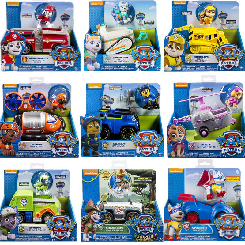 Genuine Paw Patrol Toy Set Toy Car Everest Apollo Tracker Ryder Skye Scroll Action Figure Anime Model Children's Toys