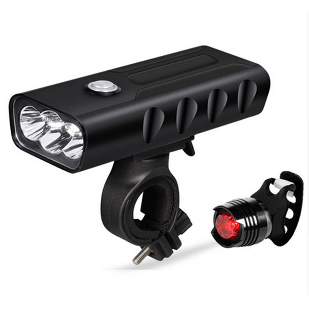15000Lum 2/3*L2/T6 USB Rechargeable Built-In 5200mAh 3Modes Bicycle Light Waterproof Headlight Bike Accessories With Taillight