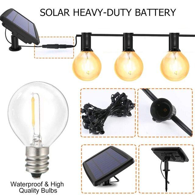 Garden Solar Light Garland Bulb Edison String Lights G40 Retro Glass Lamp For Outdoor Waterproof Party Lighting 5/7.6 Meters 4