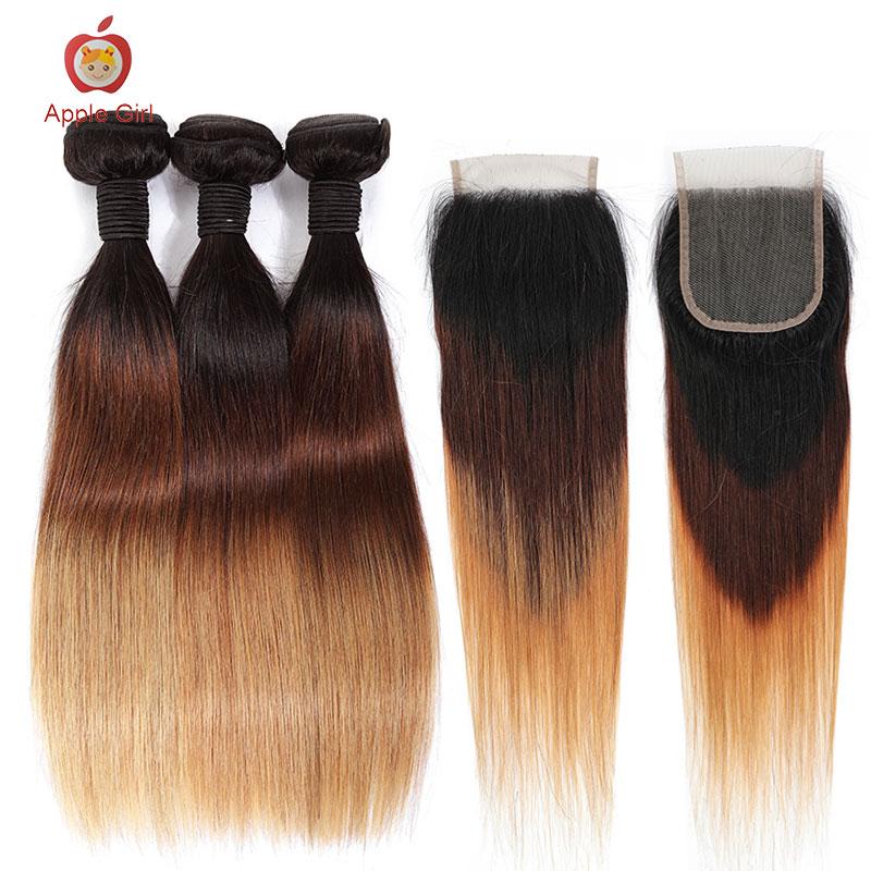 T1B /4/27 Ombre Color Straight Human Hair Bundles With Closure Honey Blonde Brazilian2/ 3 Bundles & Closure Applegirl Remy