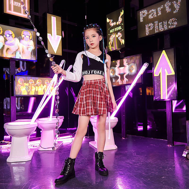 Popular Jazz Dance Costumes Kids Hip Hop Stage Rave Outfit Street Dance Performance Clothing Girls Practice Clothes 2 Pcs DC2983