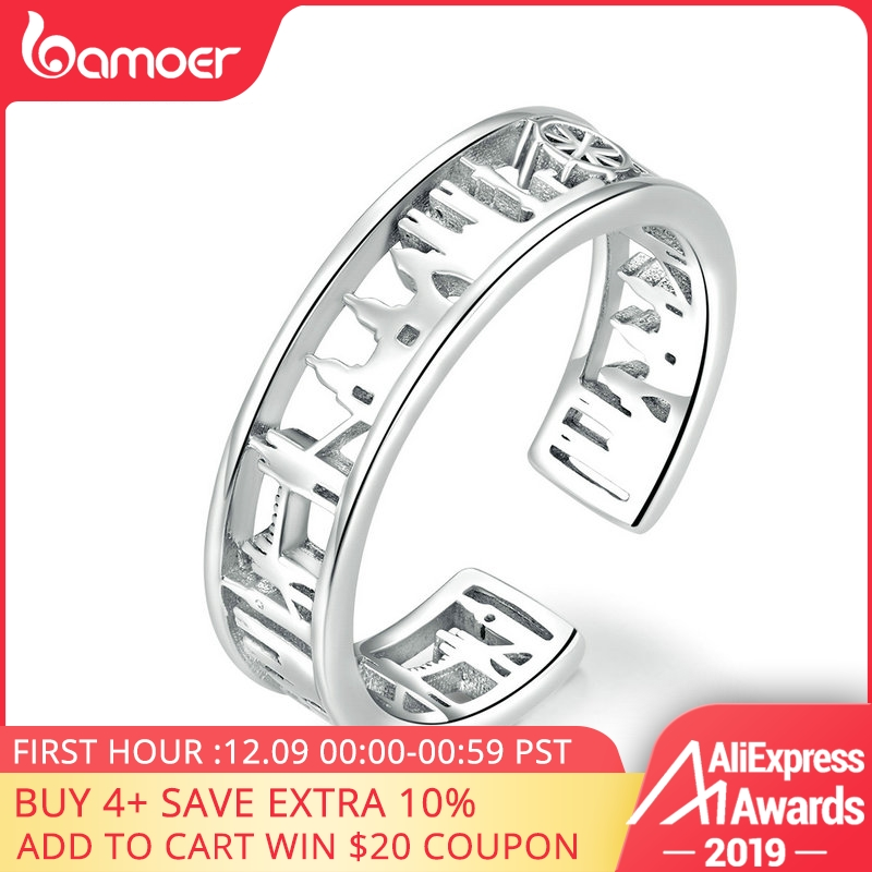 Bamoer City Sketch Wide Finger Rings For Women Sterling Silver 925 Adjustable Rings Band Fine Jewelry Female Accessoires SCR606
