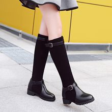 Big Size 9 10 11-13 thigh high boots knee high boots over the knee boots women ladies boots Belt buckle splice cloth sleeve(China)