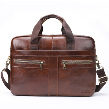 Men's Genuine Leather Briefcase Large Capacity Male Laptop Bag Leather Business Messenger Bags Portable Briefcases For Men 2020 male genuine leather bag soft handbag top layer leather large capacity crossbody messenger bags for man men business briefcase