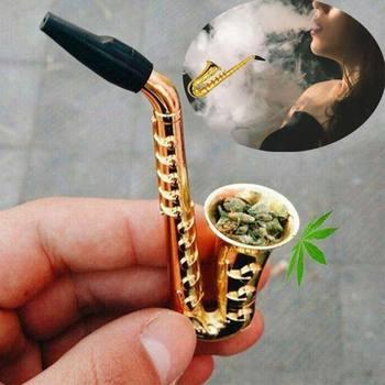 Saxofón pequeño portátil para fumar tabaco, pipa de agua de Metal para tabaco con malla, accesorios para cigarrillos