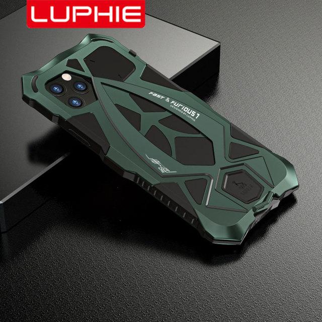 Luphie صدمات الهاتف حقيبة لهاتف أي فون 11 برو ماكس العسكرية الصف قطرة اختبار حافظة Coque آيفون X XS ماكس Xr غطاء من الألومنيوم