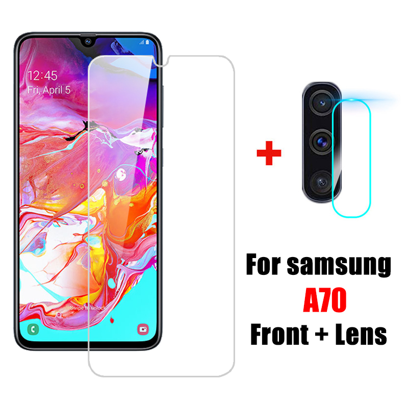 2 In 1 A70 Tempered Glass SamsungA70 Camera Lens Protective Glass For Samsung Galaxy A70 Sansung A 70 70A A705 Screen Protector