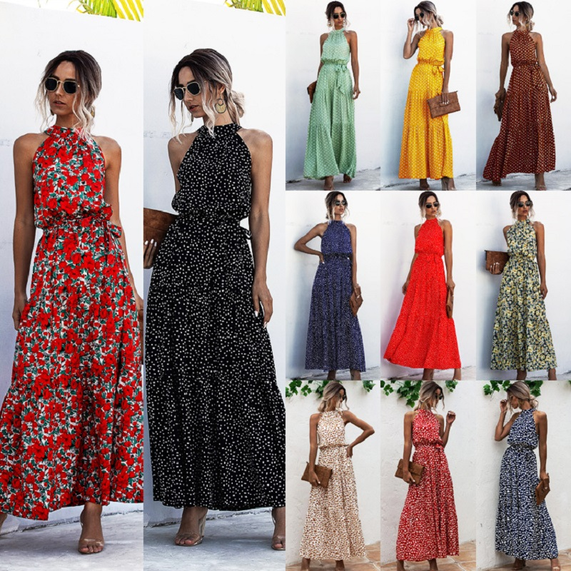 Summer Elegant beach Women Dress 2020 long Print Flowers Polka dot strap Ladies Halter boho Dress