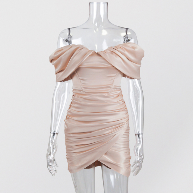 JillPeri Off the Shoulder Ruched Mini Dress Fashion Christmas Celebrity Satin Pink Birthday Club Outfits Women Sexy Party Dress