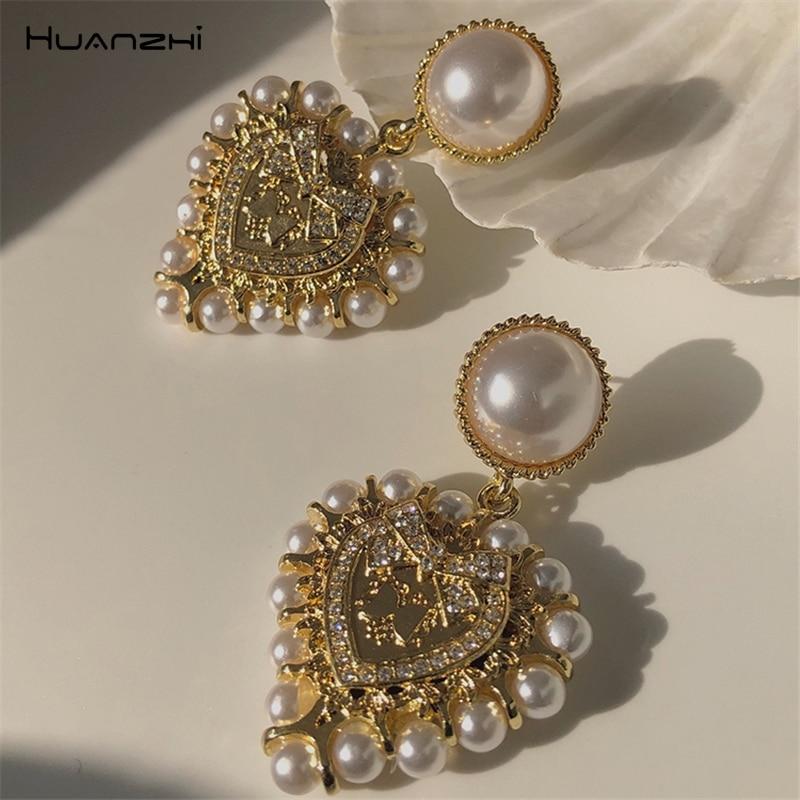 HUANZHI 2020 в винтажном стиле; Из барочного жемчуга зеркальные наклейки в виде большого сердца серьги в виде капель с золотой Цвет геометрически...