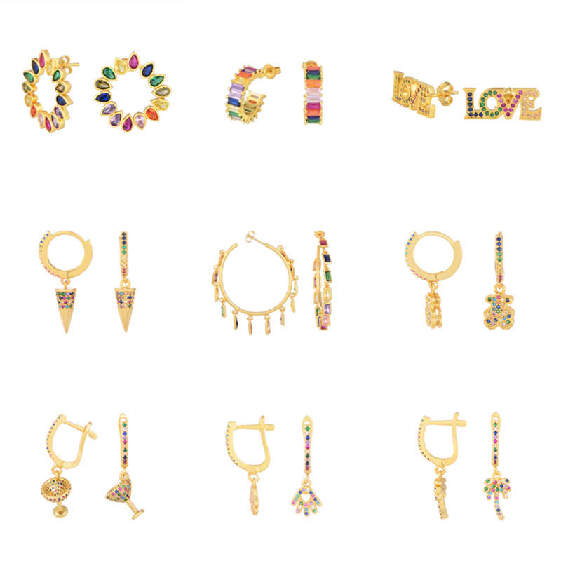 European Rainbow drop Earrings jewelry for Women Gold Copper cz earring big cactus bears Lips tassel Earrings 2019 gift