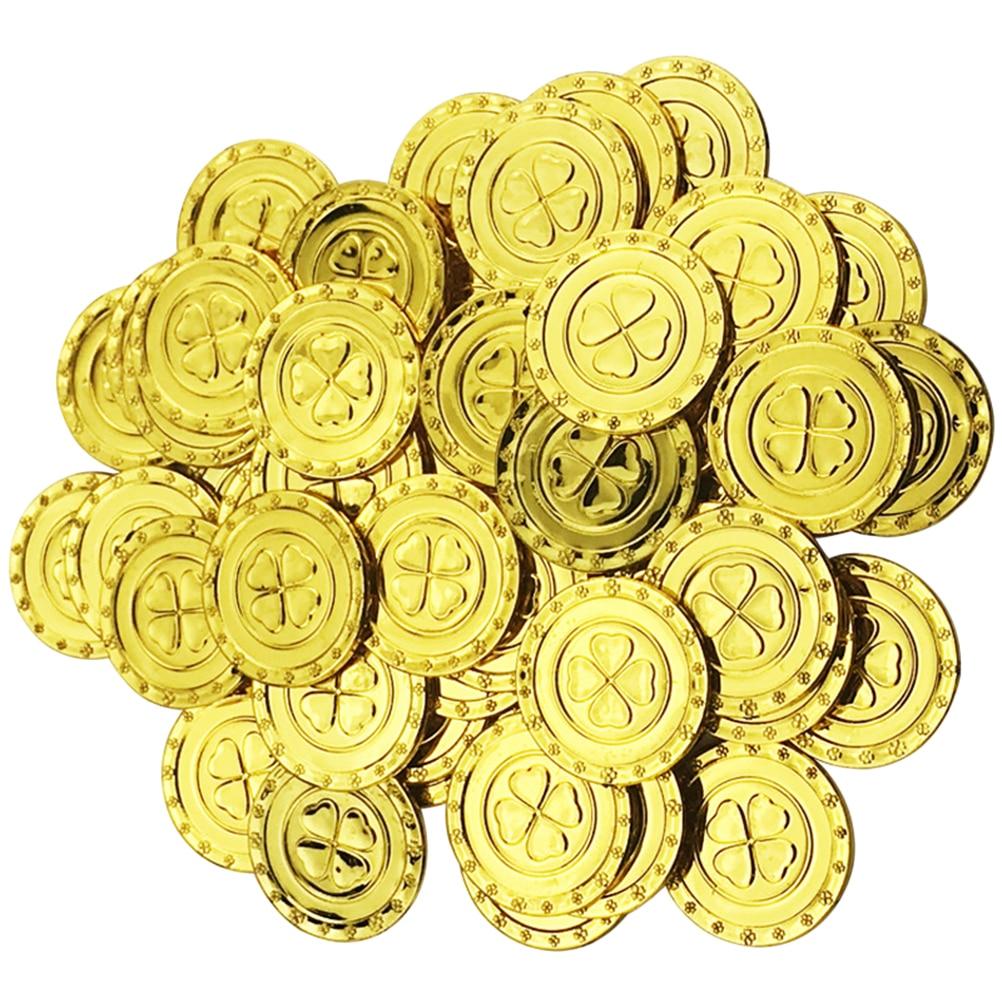 100 шт., пластиковые золотые монеты для детей