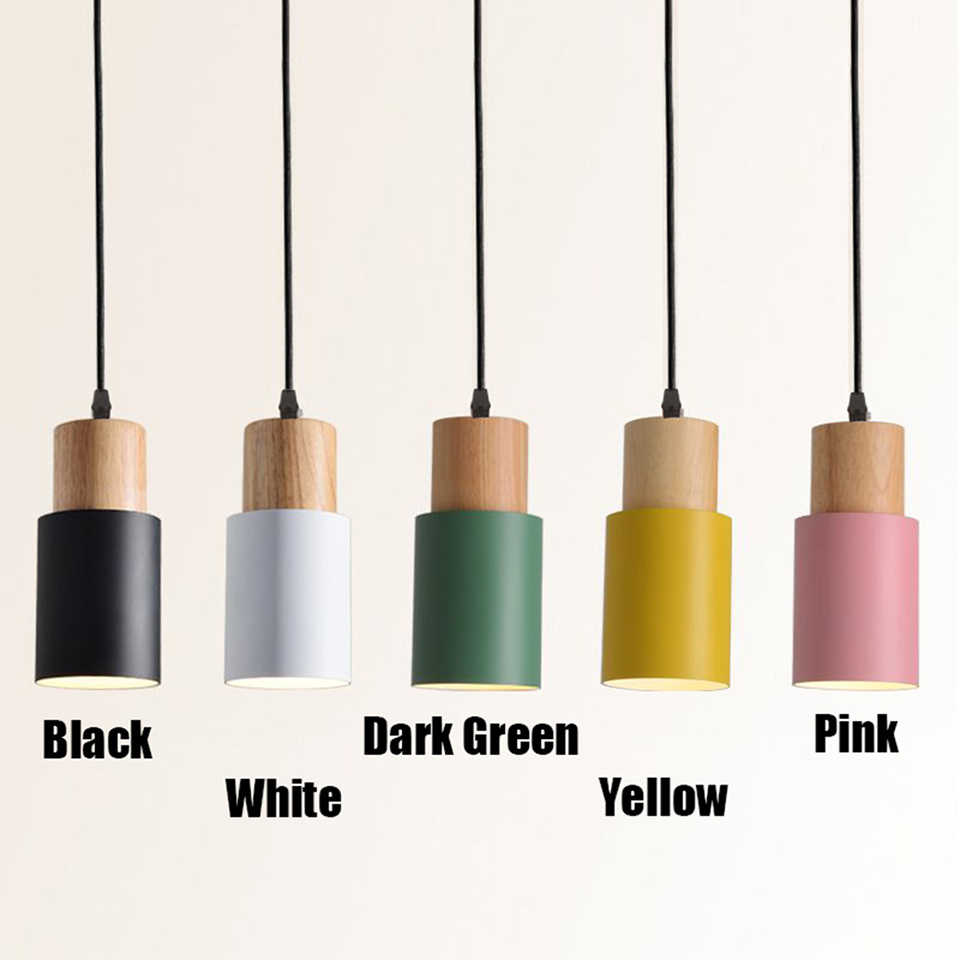 E27 Kreative Einfache Holz Anhänger Lichter Led Schwarz/Weiß Hängen Lampe Metall Küche Bar Hotel Schlafzimmer Leuchte Suspendu [d7567]
