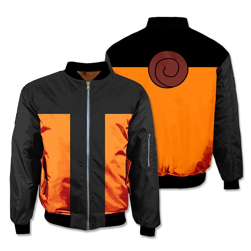 Anime Naruto Cosplay Hoodies 3D Sweatshirts Thicken Bomber Jacket Men's Winter Flight Coat Streetwear Adult Baseball Coat top