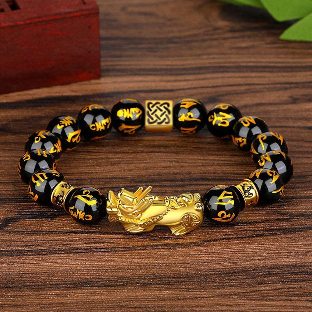 Novo feng shui pi xiu pulseira preto obsidian riqueza jóias para homens boa sorte colar mão esculpida mantra grânulo pulseira