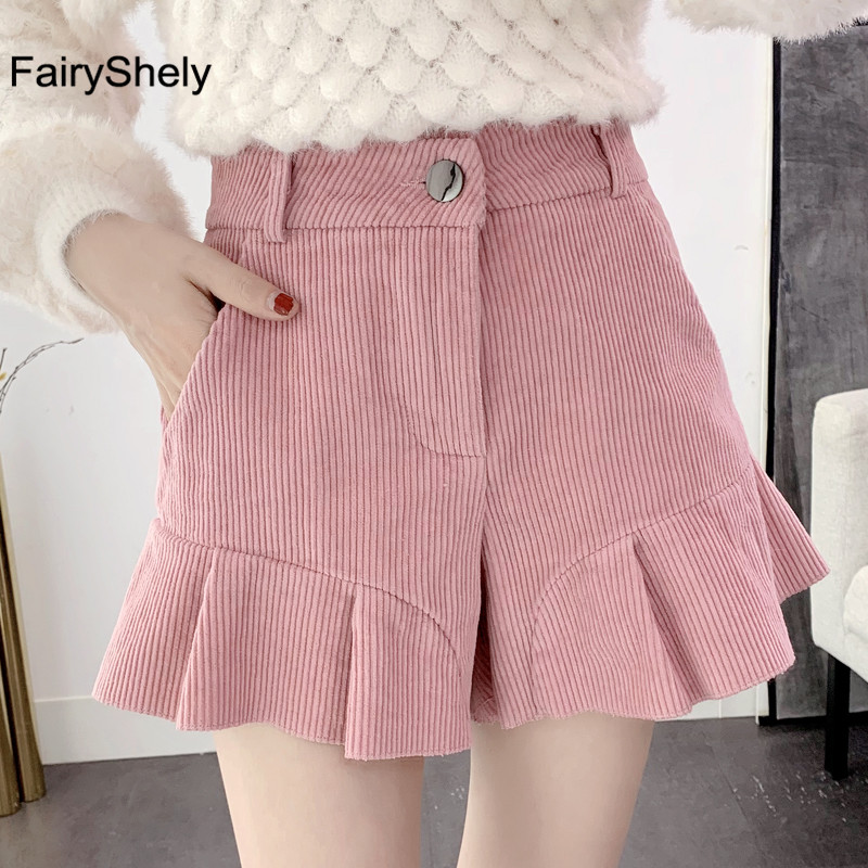2019 Autumn Winter Warm Women Wide Leg Shorts Pink High Waist Corduroy Aesthetic Women Shorts Casual Chic Shorts Plus Size 2XL