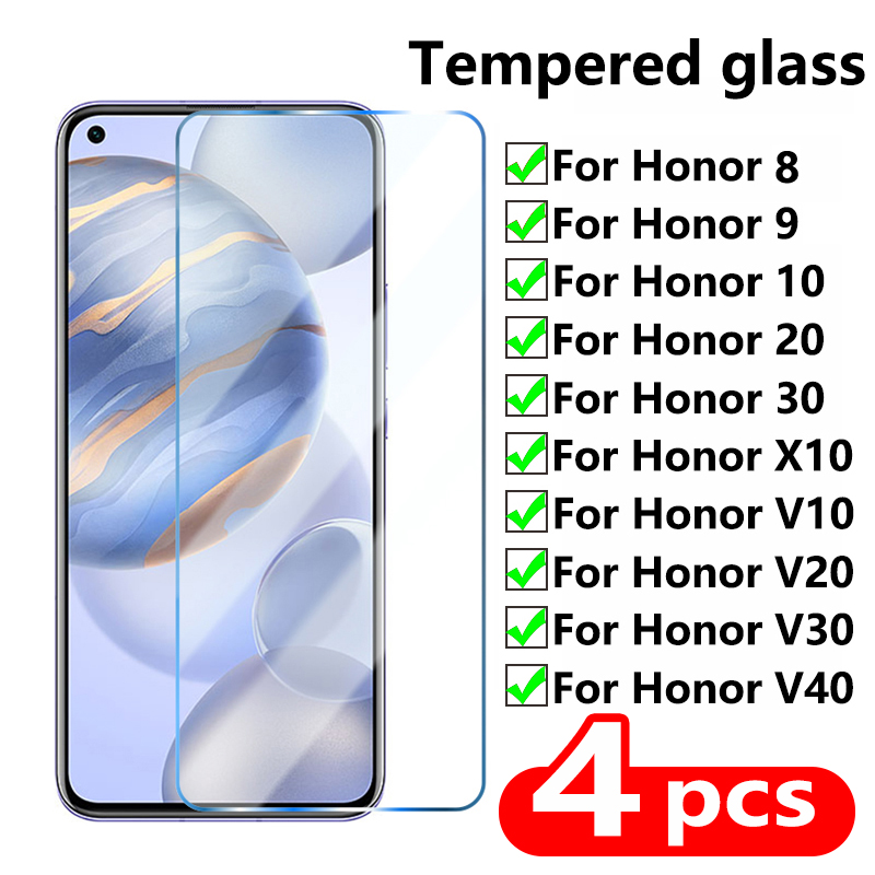 4Pcs Tempered Glass For Huawei Honor V 40 30 20 10 Screen Protector Protective Glass on Mate Honor 20 10 9 Lite X10 MAX 8X 9X