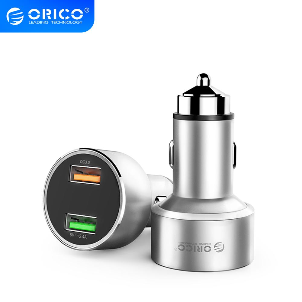 ORICO QC3.0 Car <font><b>Charger</b></font> <font><b>30W</b></font> Max Dual <font><b>USB</b></font> Car-<font><b>charger</b></font> Mobile Phone <font><b>Charger</b></font> for Power Bank Mobile Phone Tablet GPS image