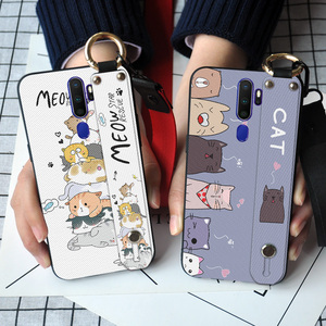 Cute Cat Soft Silicone Phone Case For OPPO F1S F3 F5 F7 F9 F11 Pro A3S AX5 A71 A83 A9 2020 Lovely Wristband TPU Back Cover(China)