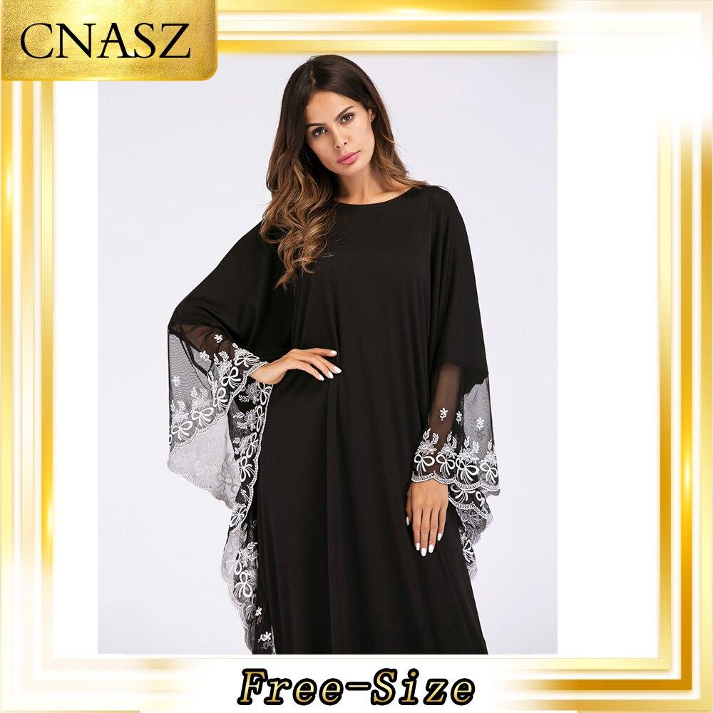 Abaya Dubai Muslim Dress Costumes Hui Dubai Lace Side Bat Sleeve Robe Large Size Women's Dress