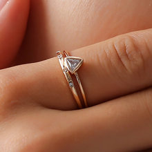 Trendy Geometric CZ Zircon Stone Thin Rose Gold Color Knuckle Ring Set MIDI Finger Ring Simple Design Jewelry Rings Sets for women Jewelry(China)