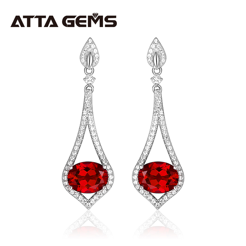 Women's Sterling Silver Drop Earring Ruby Romantic Elegant Design S925 Created Ruby 4.8 Carats Jewelry Gift for Mother's Day