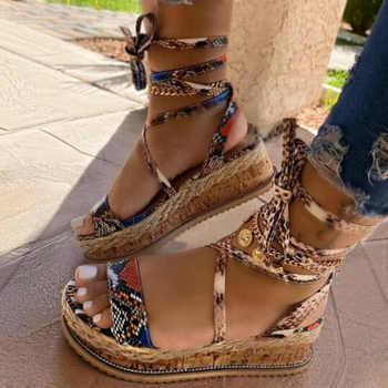 Verão sandálias de cobra sandálias plataforma saltos cruz cinta tornozelo laço peep toe 2020 moda praia festa senhoras sapatos zapatos de mujer