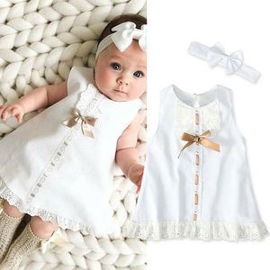 2020 New Summer Newborn Infant Baby Girl White Princess Lace Sleeveless Romper Dress Clothes Outfit Fashion Set