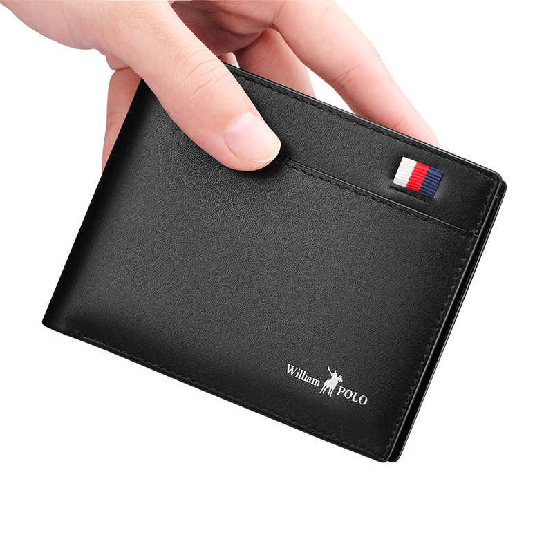 WILLIAMPOLO Short Slim Wallet Men Leather Standard Casual Simple Solid Driver License Wallets Handmade Cash Card Holders Gifts