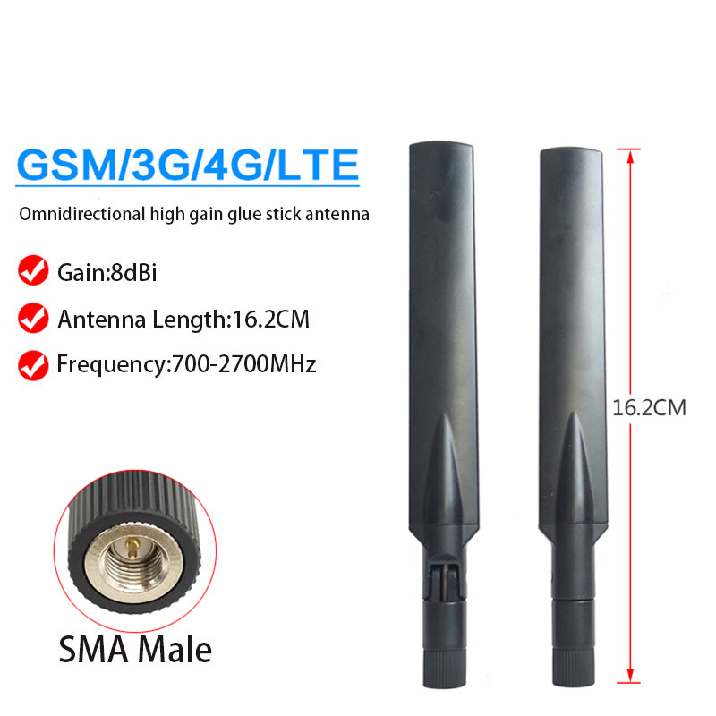 700-2700MHz LTE 4G 3G 2G GSM Omnidirectional High Gain 8dbi Glue Stick Antenna SMA Male Connector Paddle Wifi Router Antenna