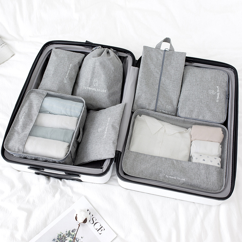 High quality 7PCS/set Travel Bag Set Women Men Luggage Organizer for Clothes Shoe Waterproof Packing Cube Portable Clothing