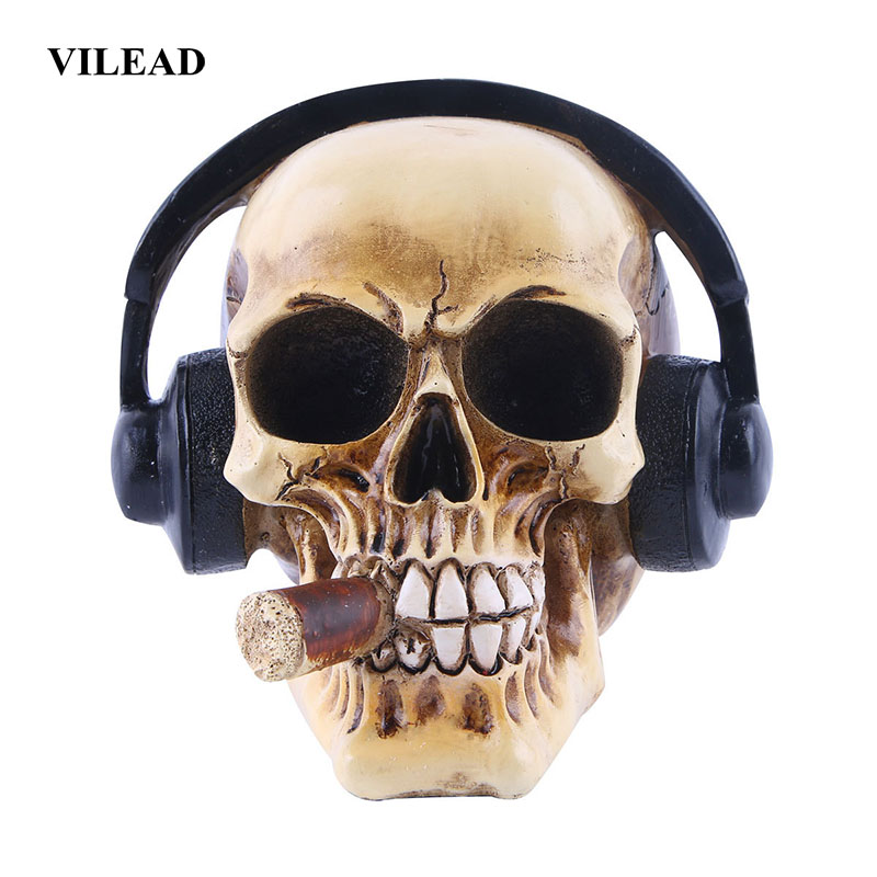 VILEAD Resin Craft Skull Head With Headphones Art Painting Movie Props Skull Ornament Music Bar Decoration Statues Sculptures Statues & Sculptures    - AliExpress