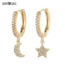 SIPENGJEL New Fashion Cubic cyrkon złote kolczyki kołowe Clssic Shiny Cz księżyc i gwiazdkowe kolczyki dla kobiet biżuteria dziewczęca prezent 2020