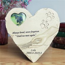Personalized New Pet Memorial Stone with Photo Frame Heart Shaped Animal Monument Garden Backyard Ornament Dog Cat Supplies JSYS