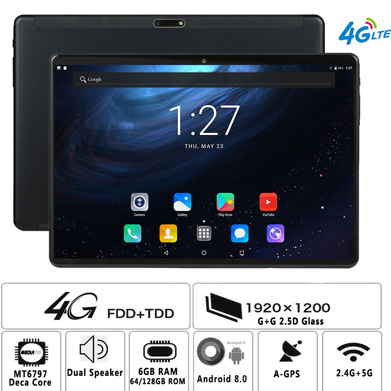 10inch Tablet Android Deca-Core Dual-Sim 4G LTE 1920--1200 PC 6GB IPS 128GB Fdd-6gb Tempered-Glass